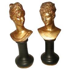 Roman Porcelain Busts Italy Gilt Black Early 1900's
