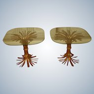 Hollywood Regency Side Tables Gilt Metal Glass
