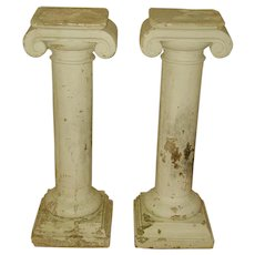 Garden Plaster Columns Or Table Bases  Architectural 20th C