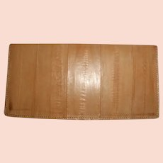 Italian Eel Skin Wallet Pocket Secretary Check Book Cover