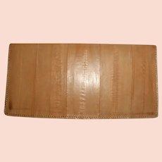 Italian Eel Skin Wallet Pocket Secretary Check Book Cover