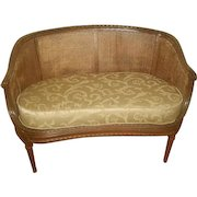 French Caned Settee 19th C Newly Upholstered Cushion