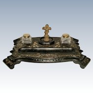 Papier Mache Inkwell Dual Inlaid 19th C France