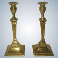 Solid Brass Candlesticks Pair England Early 1900's