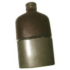English Leather Flask Nickle Base 19th Century