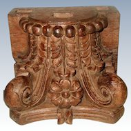 Carved English Capitol 19th Century Large