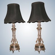 Silver Plated Lamps Early 1900's France Rewired New Shades