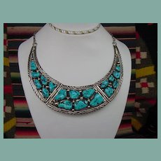 Spectacular Charles Lahnnon Vintage Native American Egyptian Style Collar Necklace Turquoise Sterling