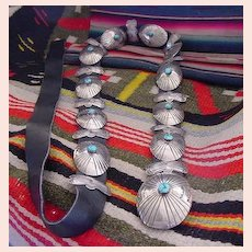 Vintage CONCHO BELT Native American Navajo Butterfly Spacers Sterling Silver Turquoise Stones
