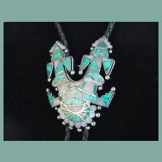 Rare Bolo Tie Native American Zuni Twin Knife Wing Kachina Dancers Turquoise Inlay Sterling