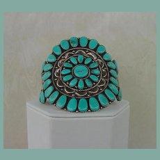 Vintage 1950's Native American ZUNI Cuff Bracelet Blue Gem Turquoise Sterling Signed