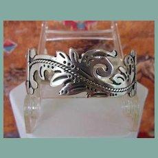 Vintage MARICELA TAXCO Mexican LINK Bracelet Sterling Silver Curvilinear Floral Signed