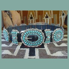 Magnificent Vintage Native American Zuni Turquoise Butterfly Belt Butterfly Sleeping Beauty  Sterling Silver Signed