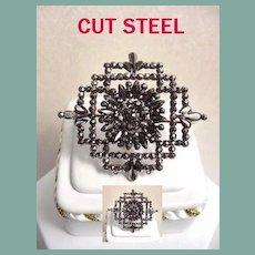 Antique Mid-Victorian Intricate Cut Steel Flower Brooch Very Feminine