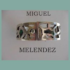 Rare 1940's MIGUEL MELENDEZ Mexican Taxco Hinged Bangle Bracelet Sterling Silver