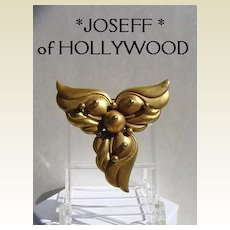 Vintage Art Nouveau Style JOSEFF of Hollywood Brooch Pin with Wings