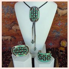 Published Vintage Native American ZUNI Set Turquoise Sterling Cuff Bolo And Buckle