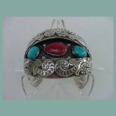 Signed B NEZ EXTRAORDINARY Vintage Native American Navajo Cuff Bracelet Turquoise Coral Sterling