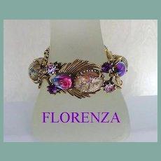 Elaborate Vintage FLORENZA Bracelet Art Glass Stones Easter Egg Cabochons Rhinestones