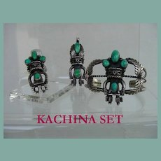 1950's Native American KACHINA 3 Piece SET Cuff Pendant & Ring Turquoise Sterling Silver Navajo