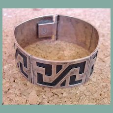 1940's Mexican Taxco Hinged Five Link Buttery Cuff Bracelet Sterling Signed