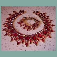 Spectacular Set Juliana D&E Necklace & Bracelet Ruby Red Aurora Borealis DeLizza & Elster
