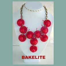 Magnificent Rare Marbled Red BAKELITE CHERRIES on Dishes BIB Necklace