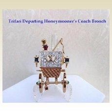 Vintage Whimsical Trifari Departing Honeymooner's Coach Brooch Pin Sapphire Blue Ruby Rhinestones Articulated Signed