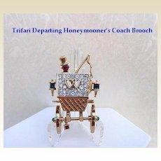 Vintage Whimsical Trifari Departing Honeymooner's Coach Brooch Pin Sapphire Blue Ruby Rhinestones Articulated Signed
