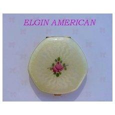 Vintage 1920's Elgin American Compact Guilloche Enamel 14K Gold Loose Powder & Rogue Vanity Case Compact Near Mint