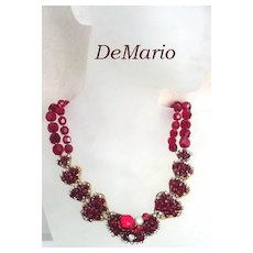Gorgeous Vintage DeMario Double Strand Red Crytal Choker Necklace Rhinestones Art Glass Stones & Baroque Pearl Signed