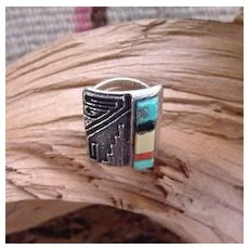 Rare Vintage Native American HOPI Art Deco Design RING Sterling Silver Turquoise Jet MOP Coral Inlay Signed