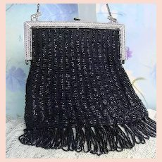 Flapper Long Fringe Antique Vintage Black Glass Beaded Purse Silver Elephants Original Silk Lining w Rosebuds