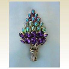 "Spectacular Vintage 4"" Brooch 25 Long Stem Flowers Carnival Glass Peacock Colored AB Stones & Amethyst Rhinestones"