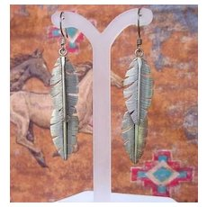 Vintage Signed BEGAYE Sterling Silver Feather Dangle Earrings Native American Navajo Pierced