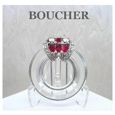 Rare Vintage BOUCHER CLEAR LUCITE & Rhinestone Fur Clip Signed Numbered Art Deco Design
