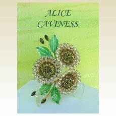 Large Vintage ALICE CAVINESS Brooch Pin Flowers Rhinestones & More Rhinestones Signed