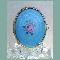 Large Vintage Powder Compact / Change Purse Blue Guilloche Enamel & Gold Mesh