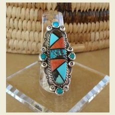 Magnificent Vintage Mosaic Inlay Native American ZUNI Long Ring Sterling Signed Turquoise Jet Ironwood Coral