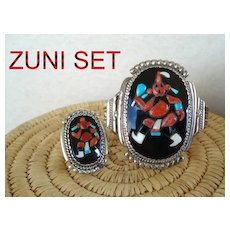 Rare Vintage Native American Zuni Set Mud Head Kachina Tortoise Shell Sterling Signed