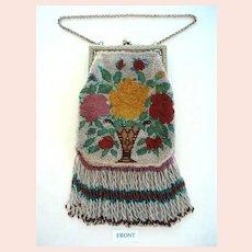 Pretty Beaded 1920's Vintage Purse with Fringe Vase & Flowers Design
