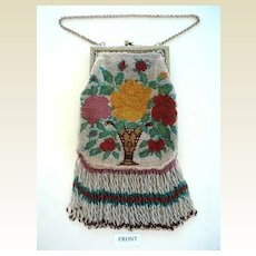 Pretty Beaded 1920's Vintage Purse with Fringe Vase & Flowers Design