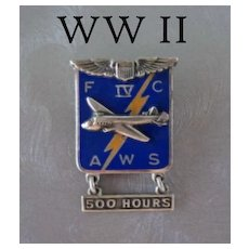 Vintage Sterling & Enamel WWII Army Air Force 500 Hours Brooch Pin Marked