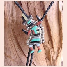 Magnificent Vintage Native American Zuni RAINBOW GOD Bolo Tie Multiple Stone Inlay Sterling Signed