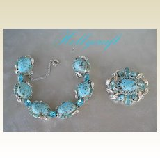 Early Vintage HOLLYCRAFT Set Turquoise Easter Cabochons Rhinestones Bracelet & Brooch Pin Signed