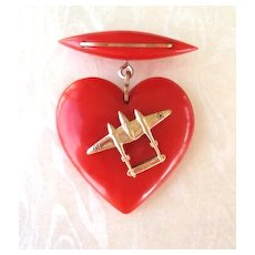 Vintage BAKELITE Puffed Red Heart Dangle Sweetheart Brooch Pin WW2 Metal Airplane
