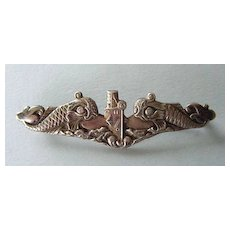 Vintage WWII U.S. Navy Submariner's Sterling Insignia Pin with Fish Marked