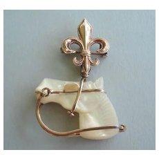 Antique Edwardian 10KT Gold Brooch Carved Horse Head Suspended Fleur de Lis Watch Pin Hunting