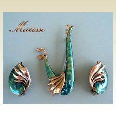 Rare Vintage MATISSE Renoir Wingsong Set Blue Green & Gold Enamels COPPER Signed