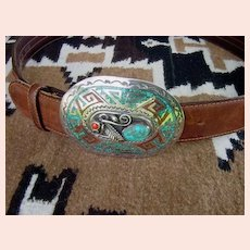 Unique Large Vintage Native American Belt Buckle Turquoise & Coral Chip Inlay Sterling Signed